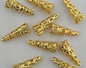 12 Bead Caps Gold Plated Cone 12mm