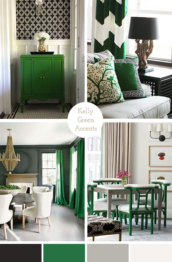 Kelly Green Accents Living Room Bedroom Decor