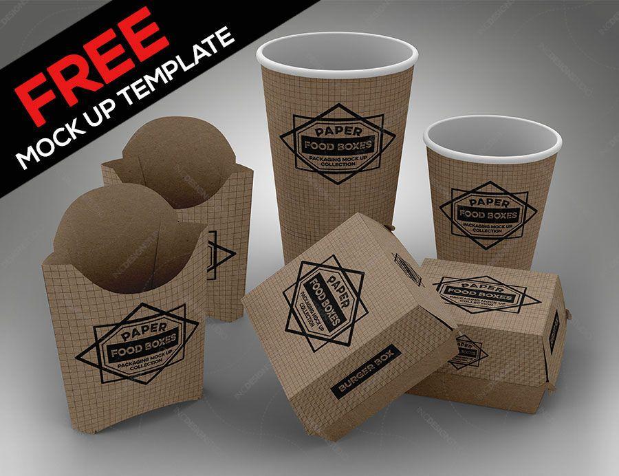 Free Fast Food Box Mockup Free Mockups Papercraft Food Branding Free Fast Food Food Box Packaging