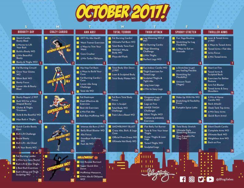 This October Workout Calendar is somethinu0027 else! (Blogilates - workout calendar