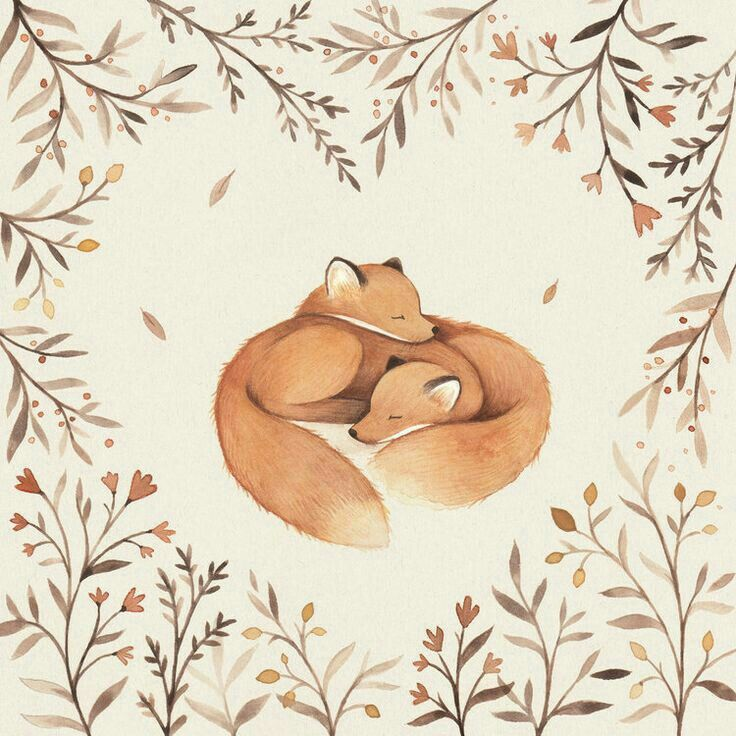 Fox art - red foxes snuggling.
