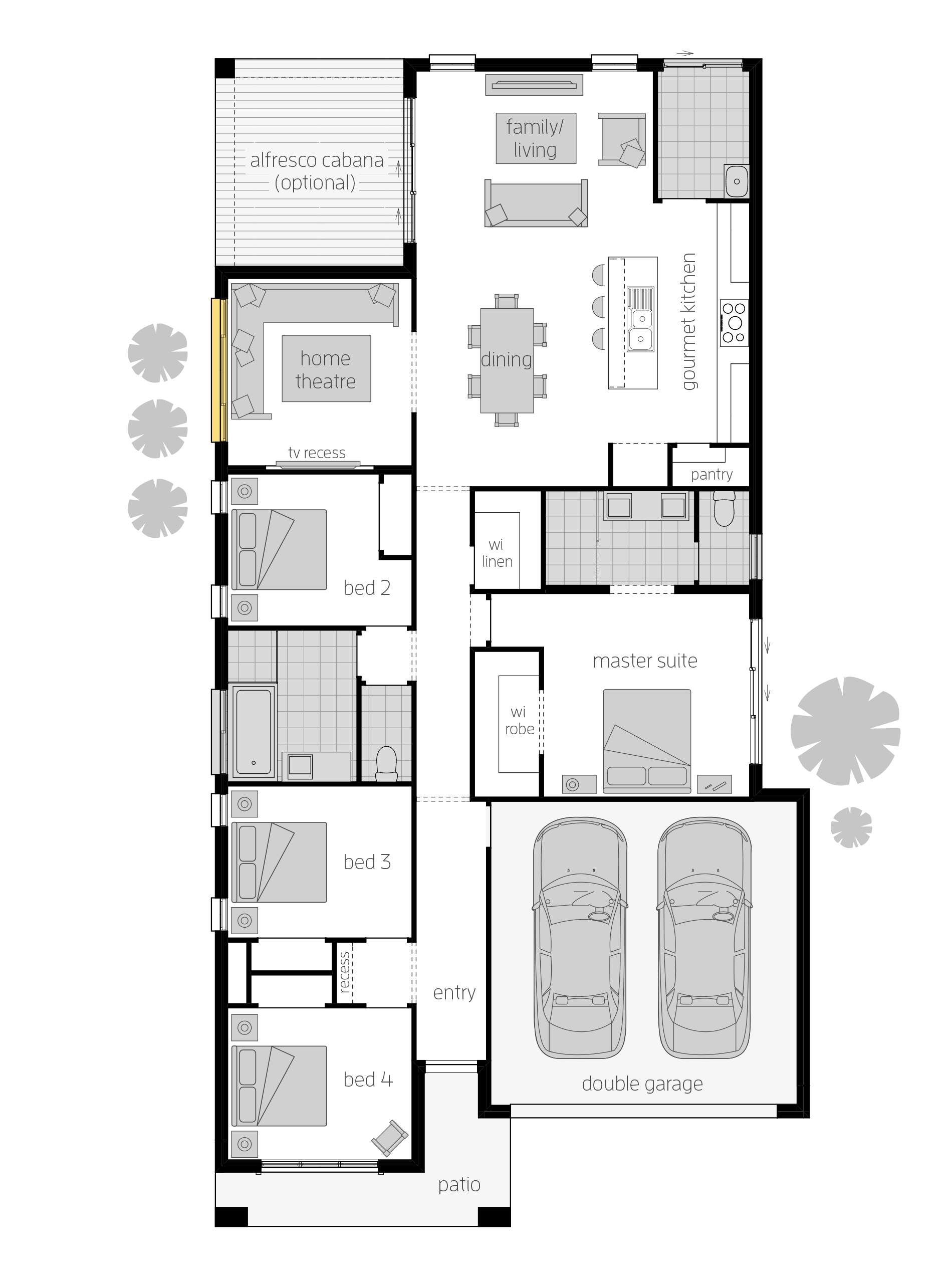 Brighton Floor Plan Designed Specifically For Narrow Blocks The Brighton Will Be Sure To Bright Open House Plans Narrow House Plans Modern House Floor Plans