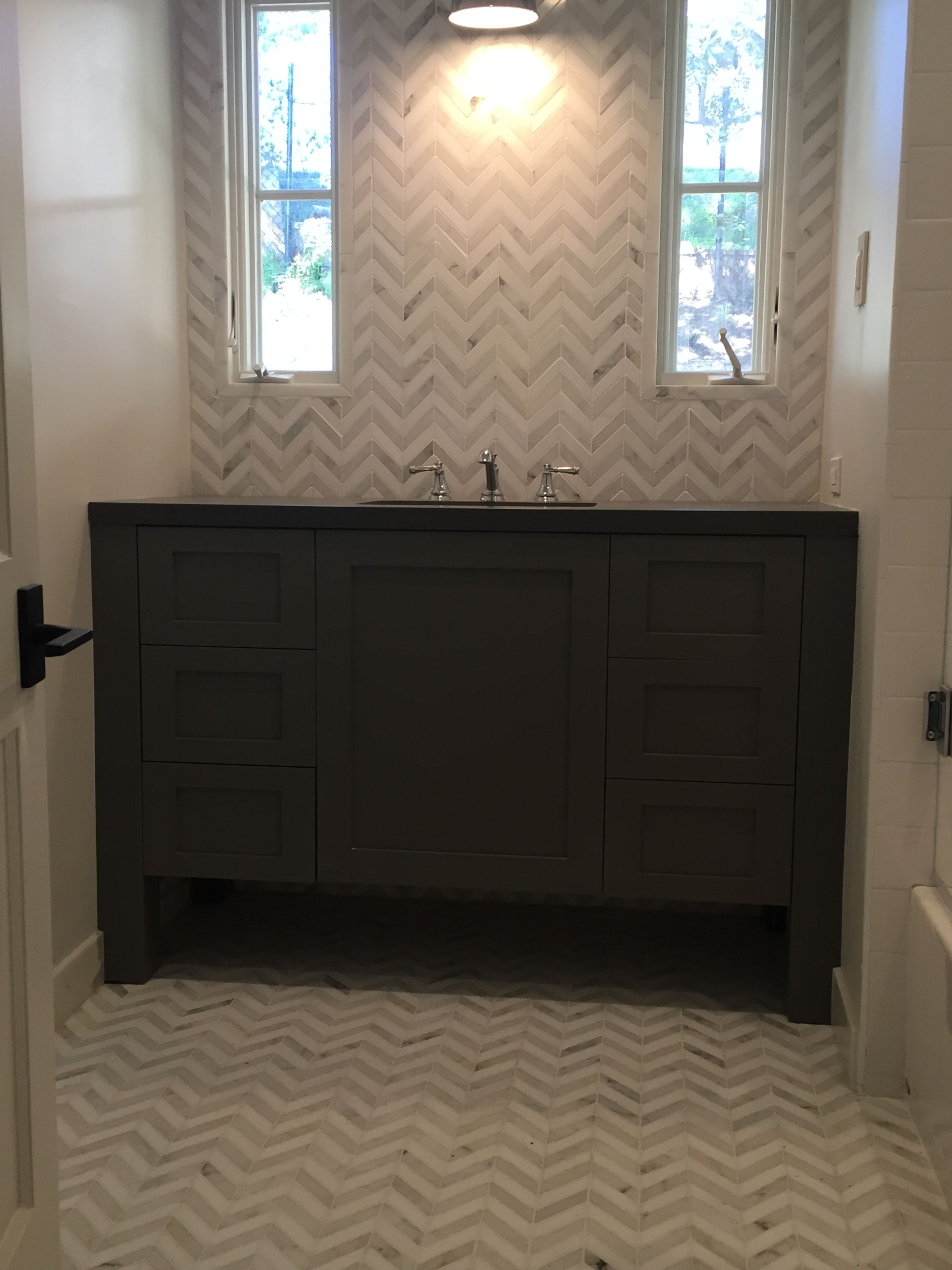 Keeping Interior Marble mosaic chevron  White subway tile
