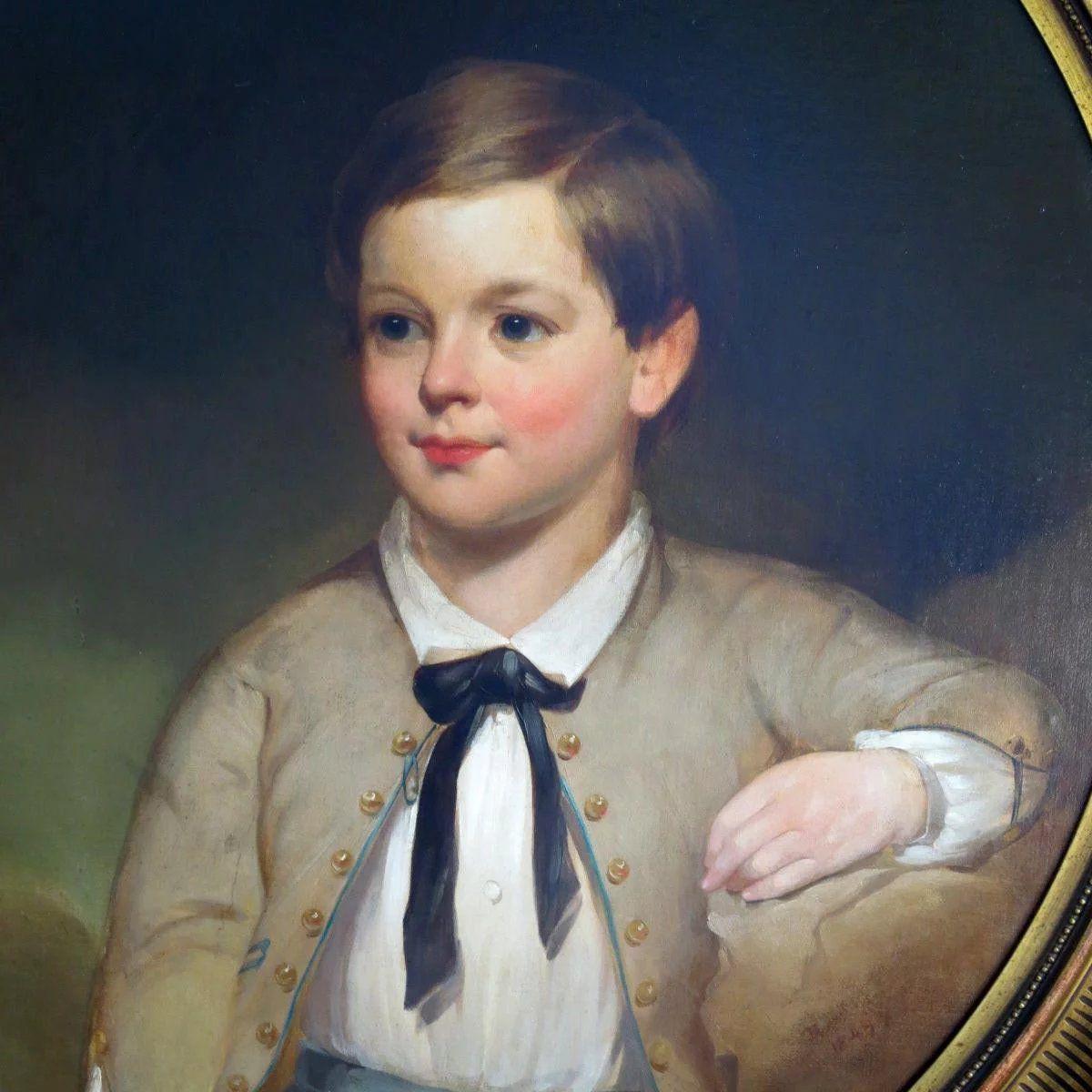Portrait boy young man child Antique oil painting original