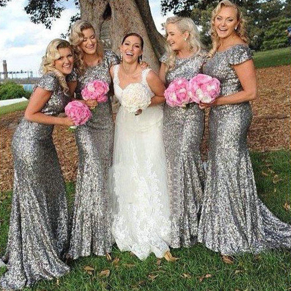 Sparkly Por Short Sleeve Bling Silver Sequin Y Mermaid Long Bridesmaid Dresses Wg46