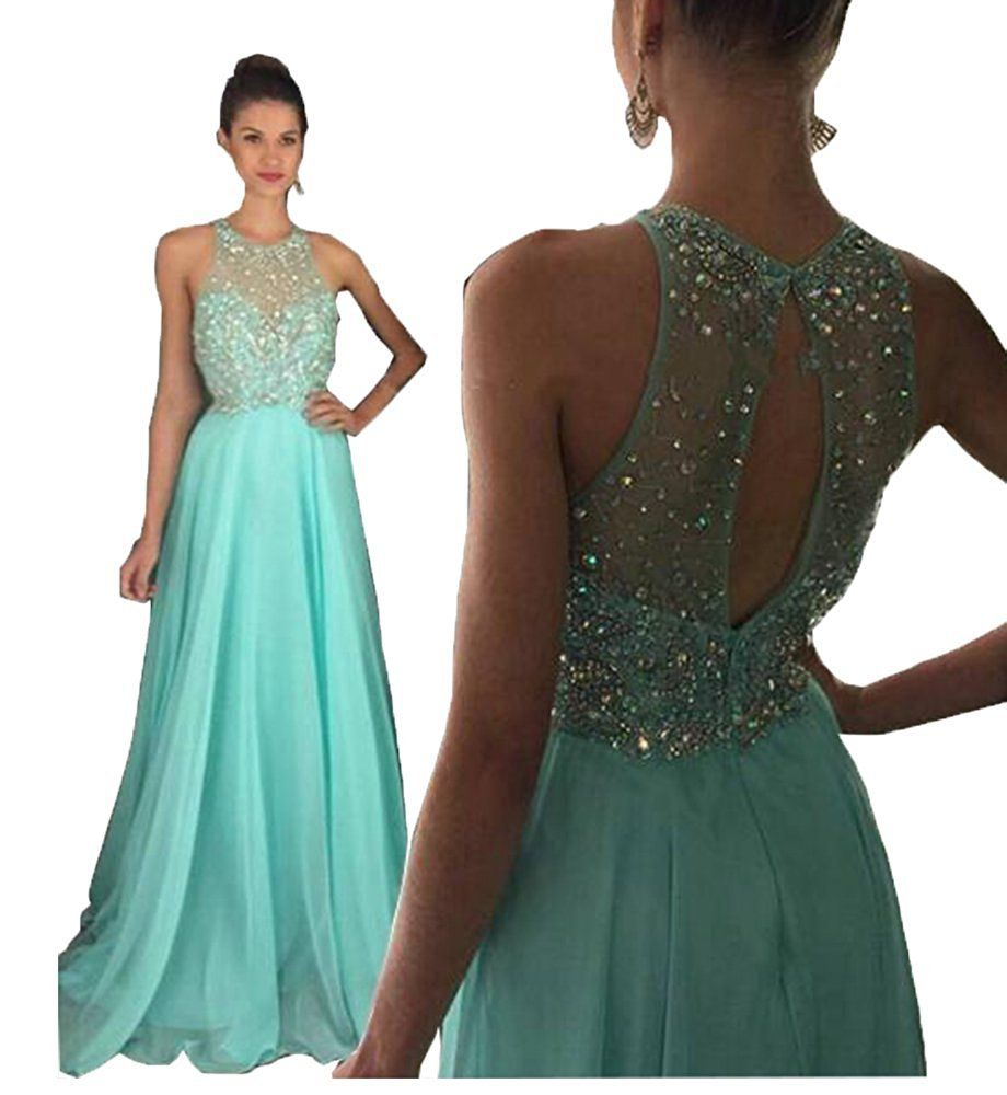 Pinkmemory womenus highneck beaded bodice keyhole back long chiffon