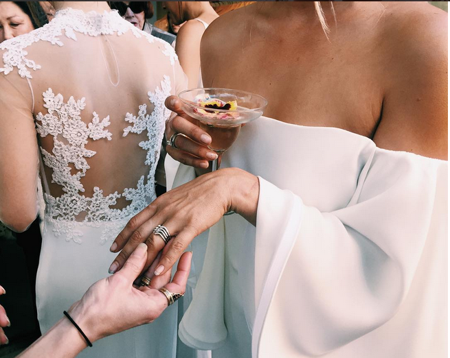 M'O Bridal & Wedding: HOUGHTON Gamila Flared Sleeve Gown from our curated Wedding Rehearsal trunkshow via @emma_thelane