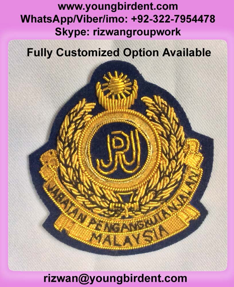 MALAYSIAN JPJ WIRED BADGE, HAND EMBROIDERY GOLD BULLION WIRE