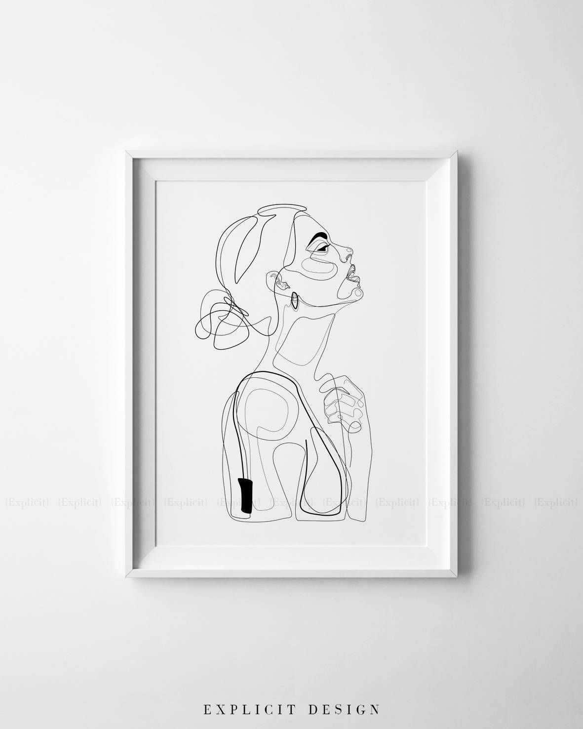 Abstract line illustration minimal face drawing in lines printable yellow fashion sketch drawn female portrait minimalist woman art instant download