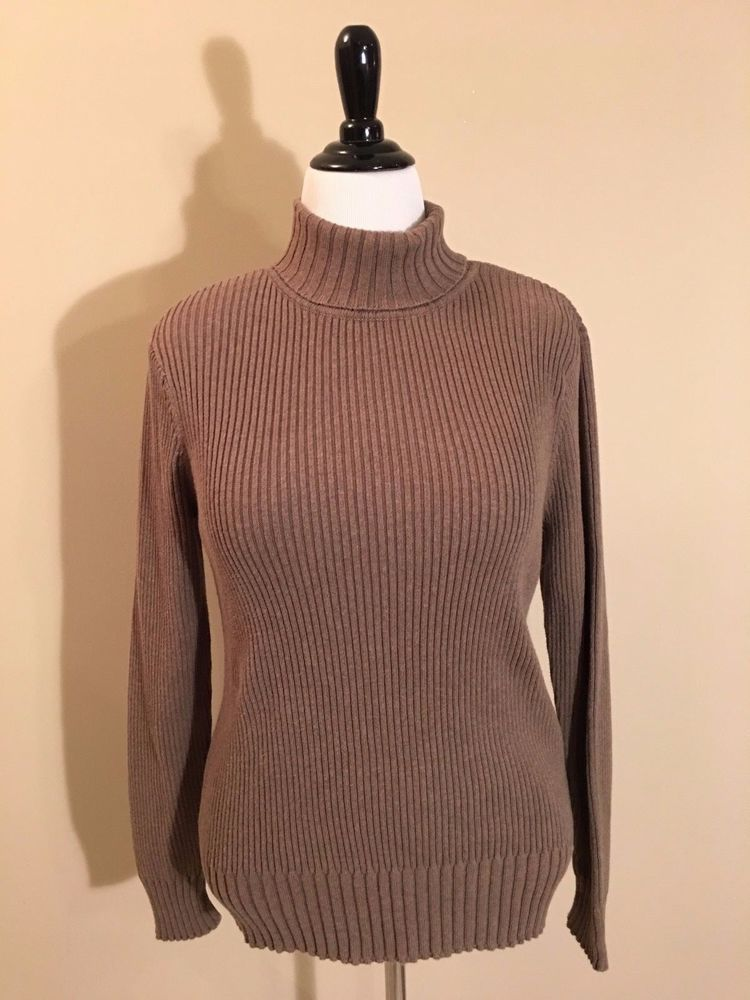 Sonoma Mocha Tan 100% Cotton Ribbed Turtleneck Sweater Women's ...