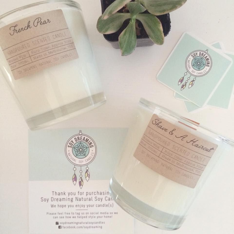 Soy Dreaming Natural Soy Candles - Handmade at home in Melbourne with the aim to create gorgeous candles in a variety of scents - all for an affordable price