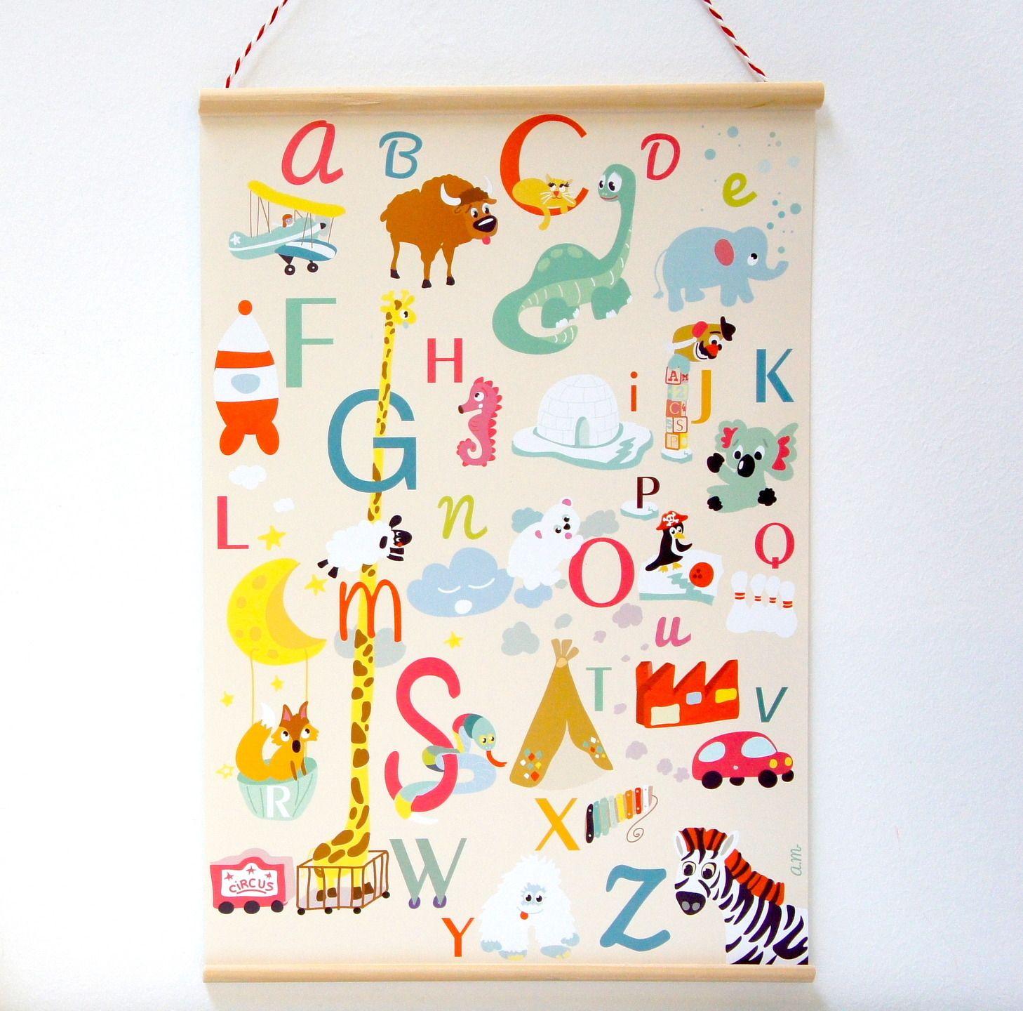 Abecedaire Affiche Enfants Alphabet De A A Z Affiches Illustrations Posters Par Sapristipopette Affiches De L Alphabet Abecedaire Illustrations
