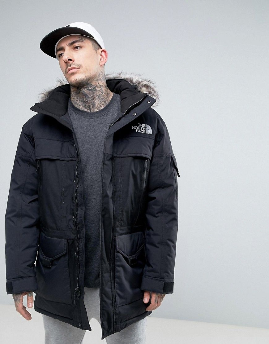 THE NORTH FACE MCMURDOW DOWN INSULATED PARKA JACKET WITH DETACHABLE FAUX  FUR HOOD IN BLACK - BLACK.  thenorthface  cloth   1c18930eb