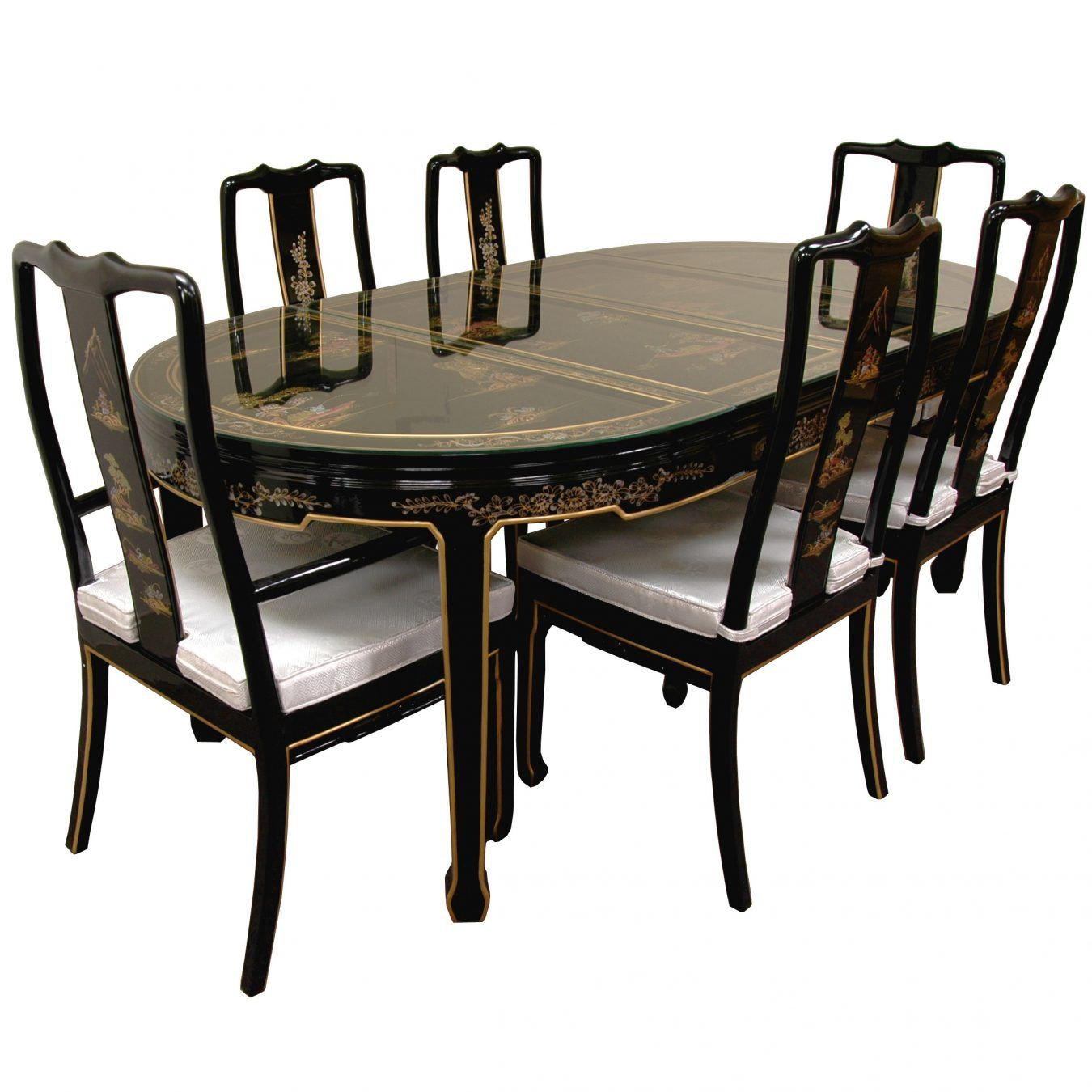 Hand Painted on Black Lacquer Dining Table W/ 6 Chairs | Chinese ...