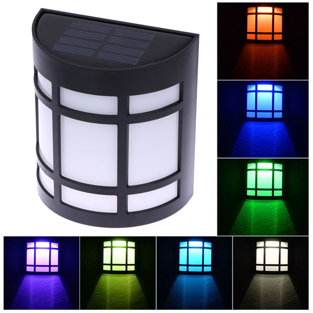 7 color solar power garden light waterproof 6 led outdoor fence 7 color solar power garden light waterproof 6 led outdoor fence yard safty decoration wall baanklon Choice Image