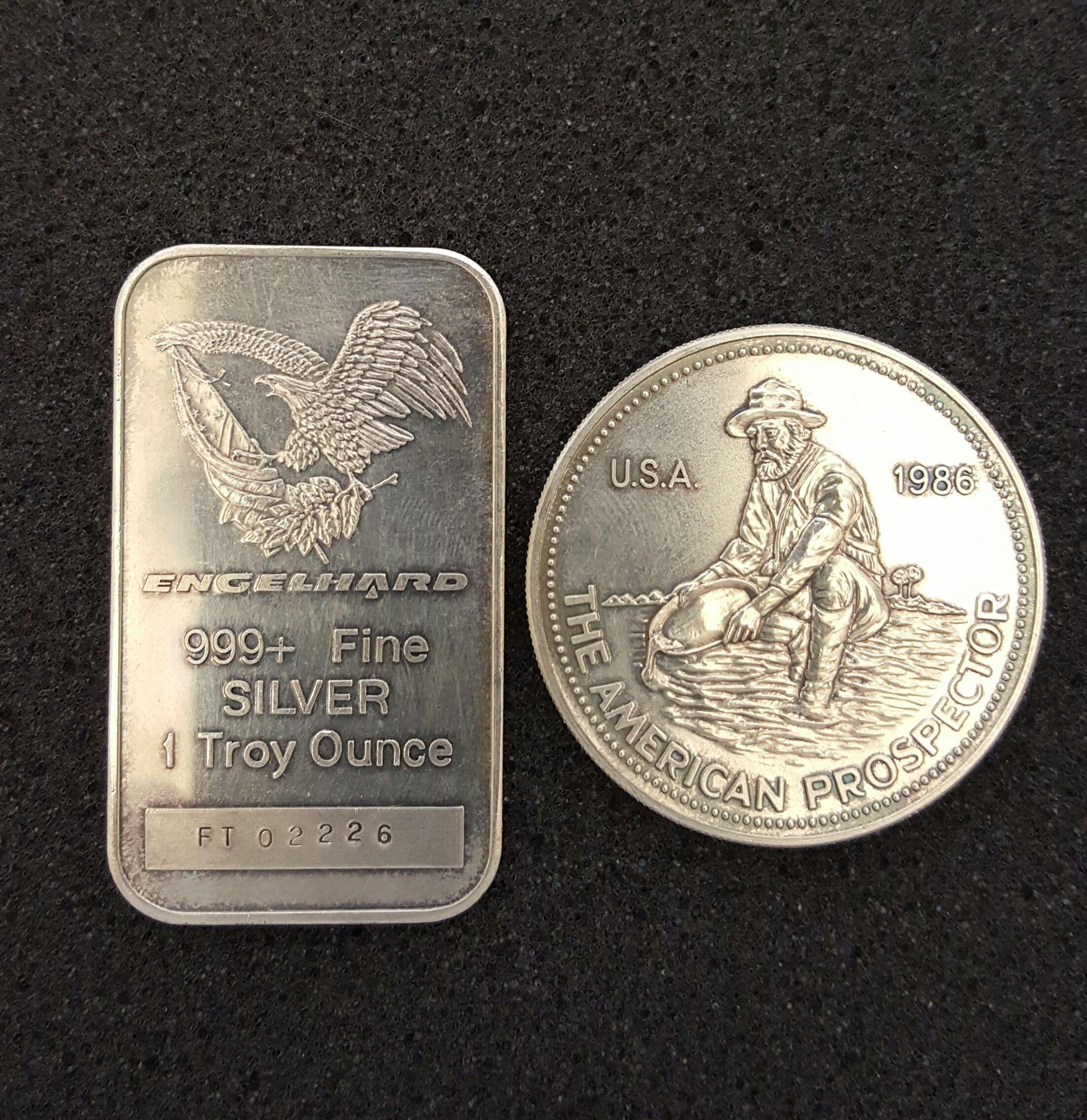 Rare 1986 Silver Engelhard Prospector Coin Eagle Bar 1 Troy Ounce Silver Coins Troy Silver