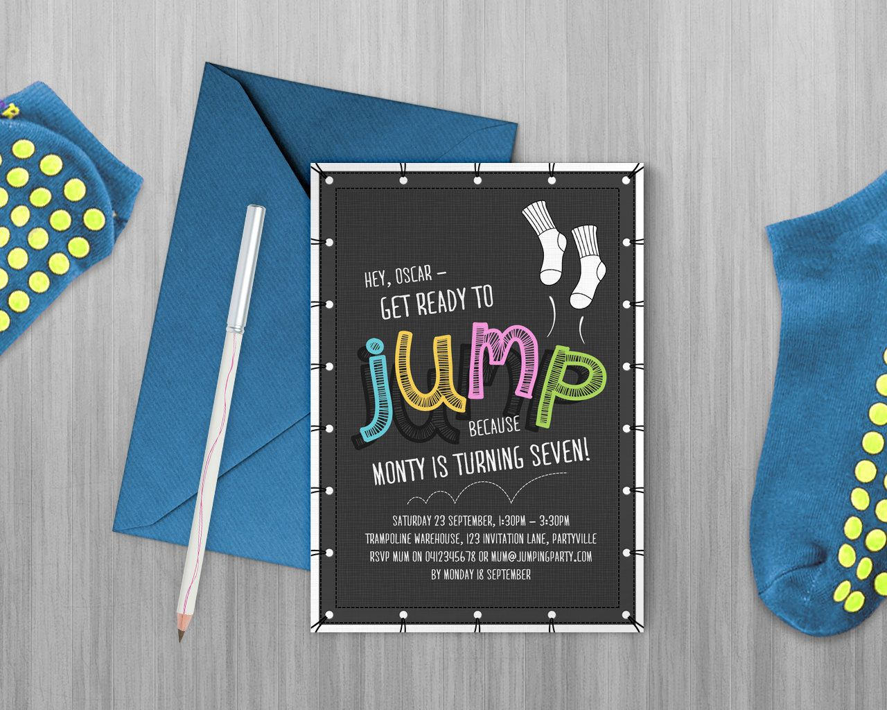 free printable0th wedding anniversary invitations%0A Jump Printable Invitation  Trampoline Party  Bounce Party  Flip Out Party  Invitation  Edit