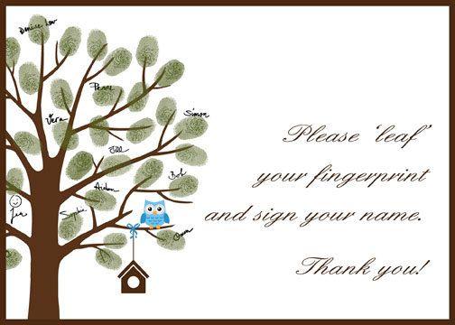 Elegant DIY Baby Shower Fingerprint Tree With Baby Owl By CustombyBernolli, $18.00