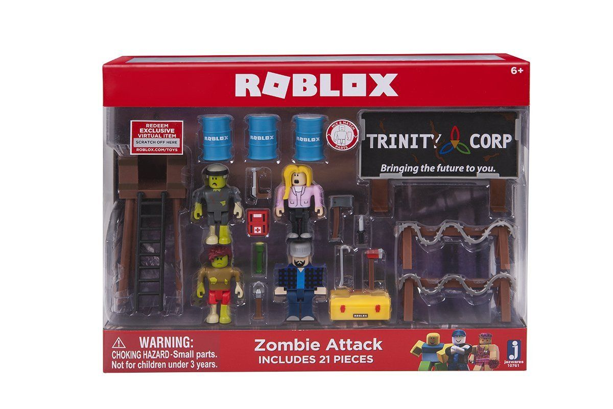 Includes 4 Figures Accessories Collector S Checklist Exclusive Virtual Item Code 21 Total Pieces Collect All Roblox Toys Zombie Attack Roblox Zombie