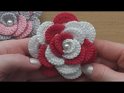 crochet 3d flower tutorial 46 fleur au crochet facile r aliser youtube handwerk. Black Bedroom Furniture Sets. Home Design Ideas