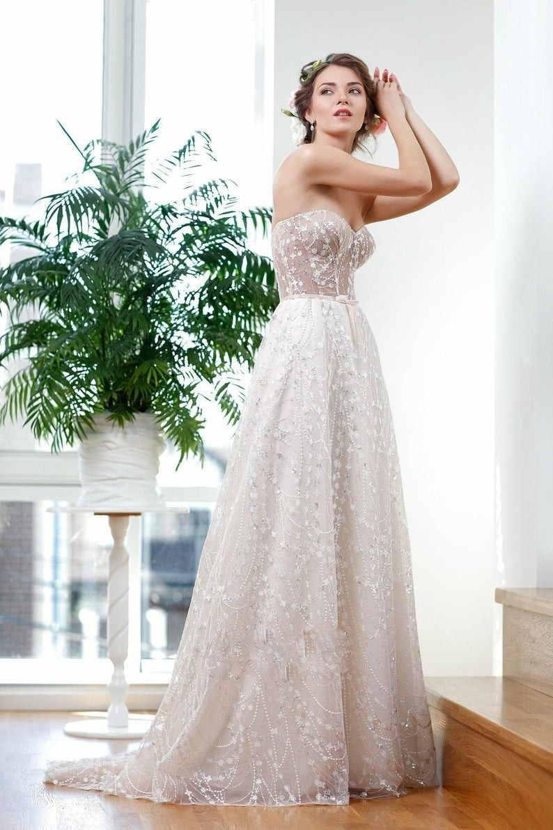 Lux Wedding Dress with Off Shoulder Straps and Hand