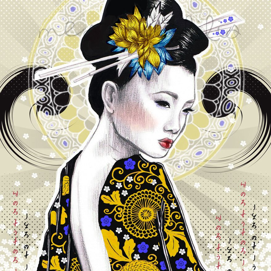 affiche pop geisha portrait de femme en kimono motifs. Black Bedroom Furniture Sets. Home Design Ideas