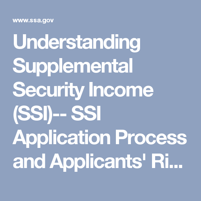 Understanding Supplemental Security Income (SSI)-- SSI Application Process and Applicants' Rights