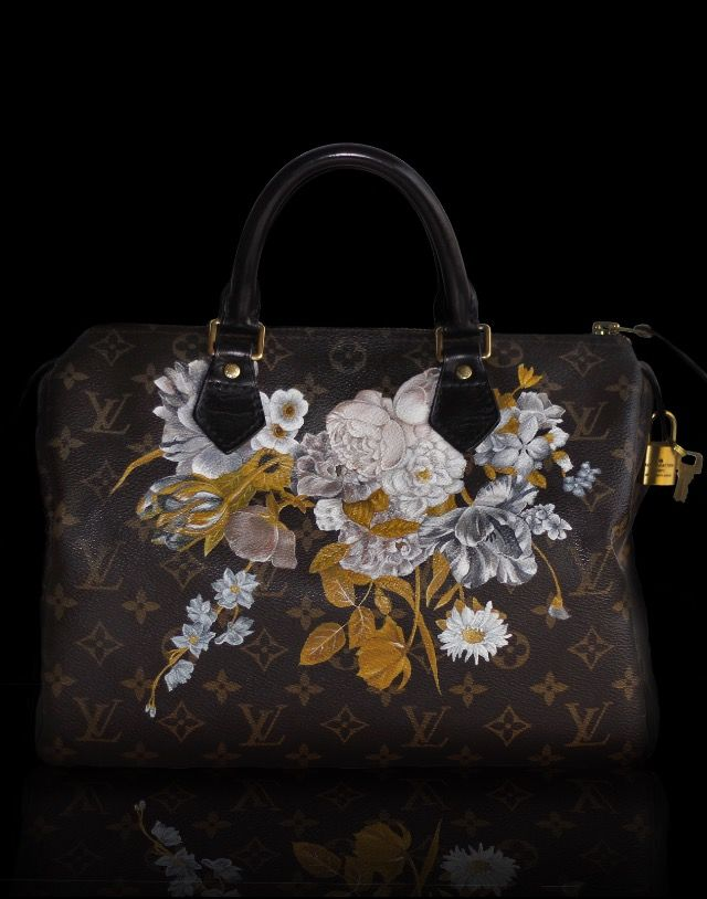 d7588ebdb6 Hand Painted Louis Vuitton Monogram Canvas Speedy 30 - Baroque Flowers