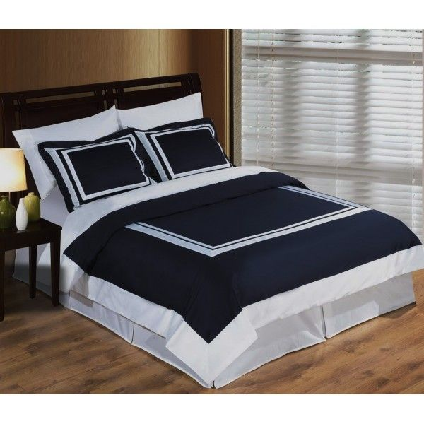 Modern Hotel Navy Blue White Egyptian Cotton Framed Duvet