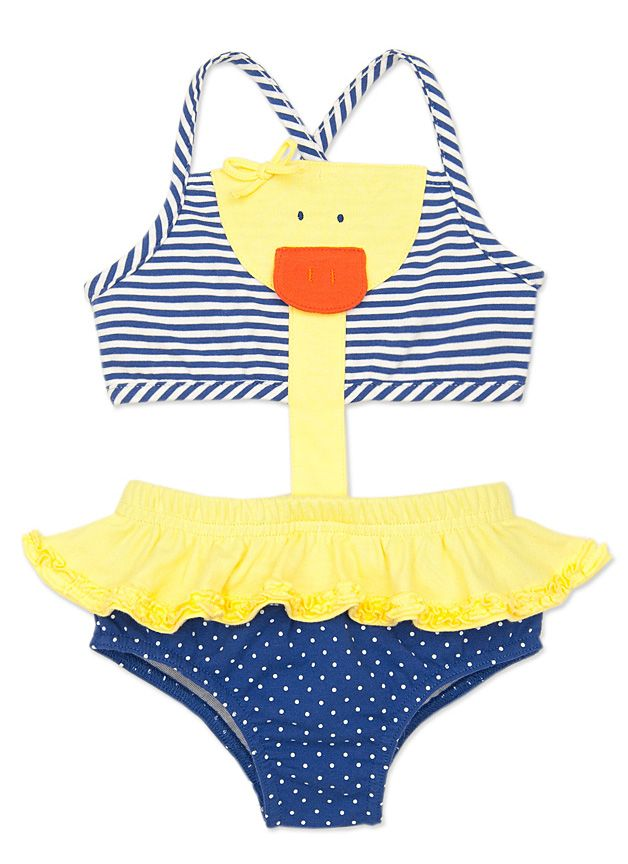2e2de38ffdfba LeTop Girls Navy Blue Stripe / Yellow Duck Swimsuit - Novelty Monokini