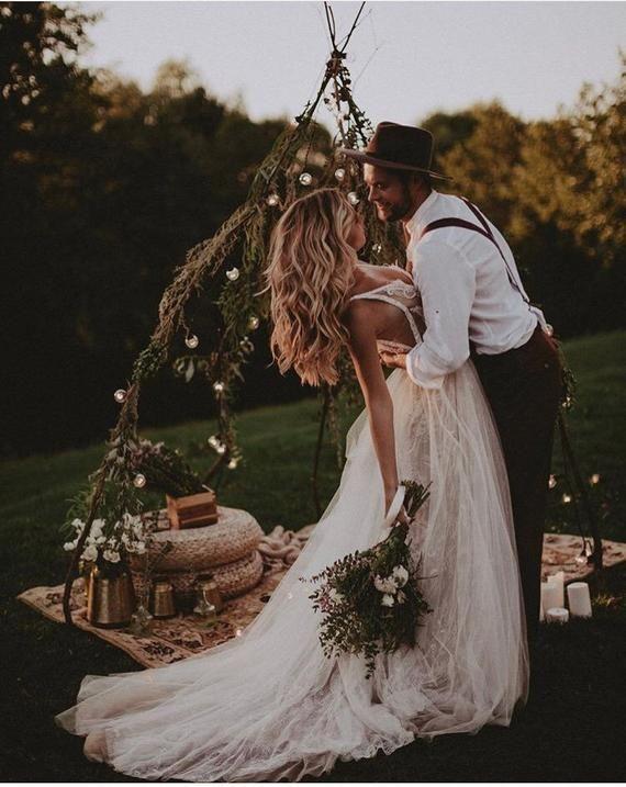 Amazing A-line wedding dress NEITAL • Wedding dress with long train • Luxury wedding dress