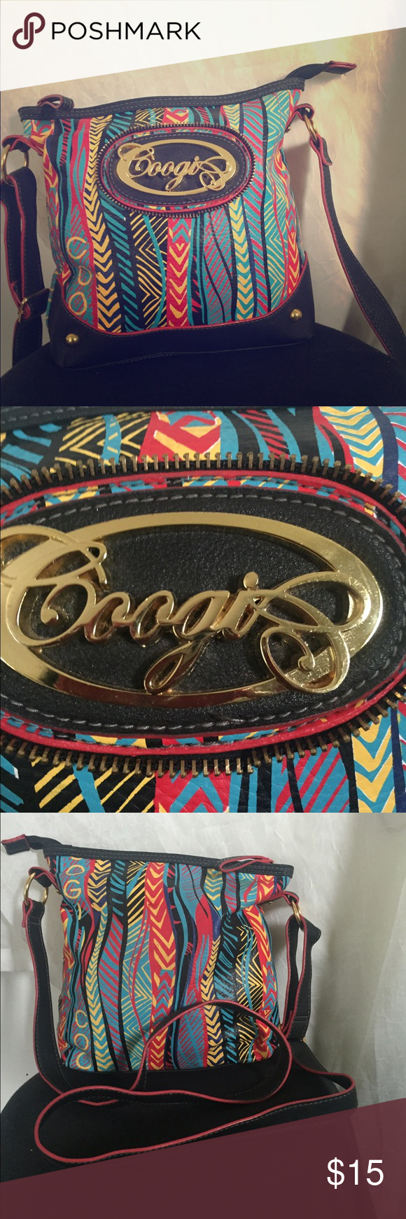 Medium size Faux leather Coogi cross body Medium size Faux leather Coogi cross body. Perfect condition with a crazy cool print! COOGI Bags Crossbody Bags