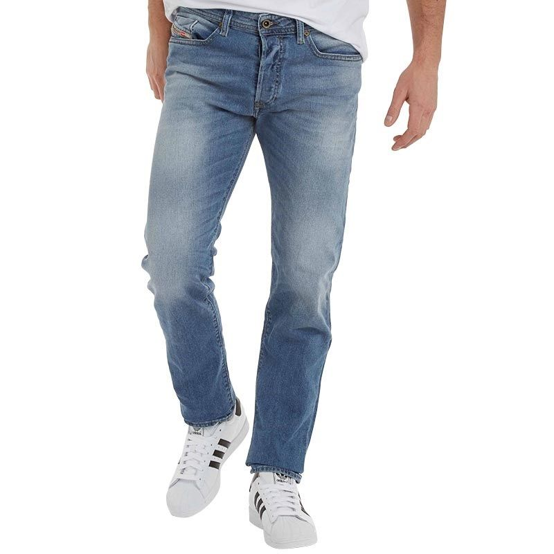 Diesel Mens Buster 0842H Tapered Fit Jeans Blue Wash · DieselDenimClothes