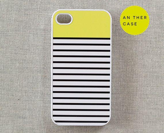 iphone 4 case, iphone 4s case - stripes, yellow, white, black. $16.00, via Etsy.