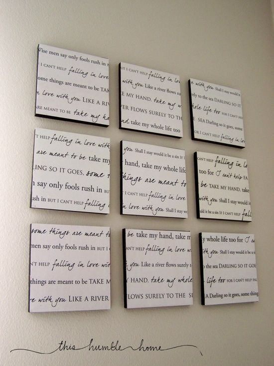 Master bedroom: lyrics to your wedding song.-- I'd love to do this!
