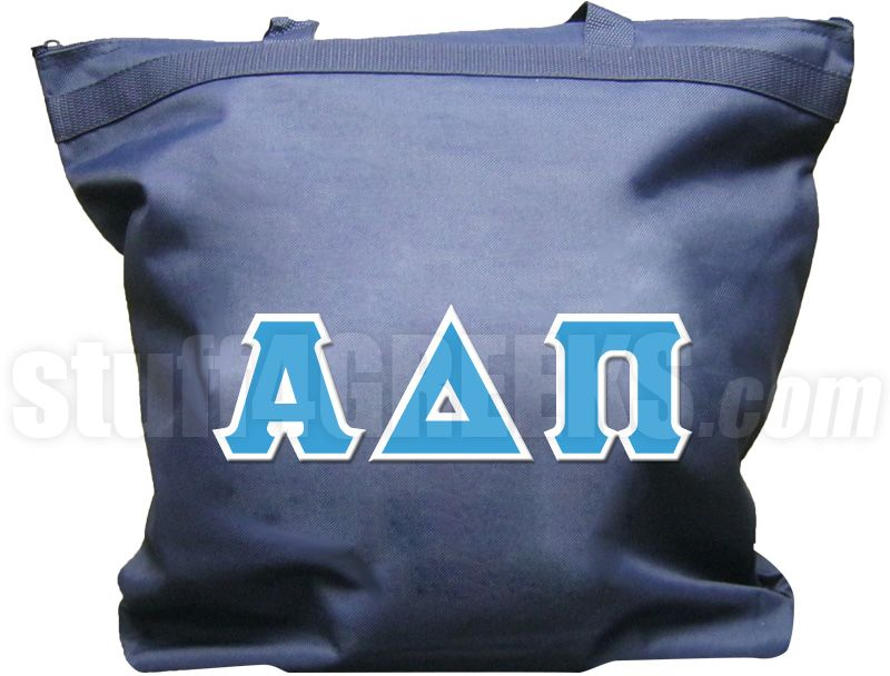 Navy blue Alpha Delta Pi tote bag with the Greek letters across the front.