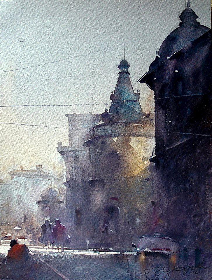 Dusan Djukaric Watercolor, 24x32 cm small formate !