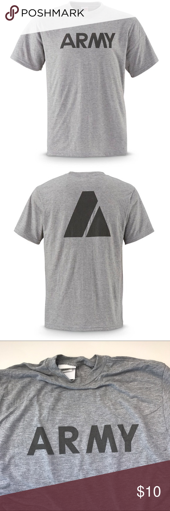 Authentic Army PT shirt Short sleeve gray authentic Army PT shirts. 2 Large available. Brand new in package. Shirts Tees - Short Sleeve