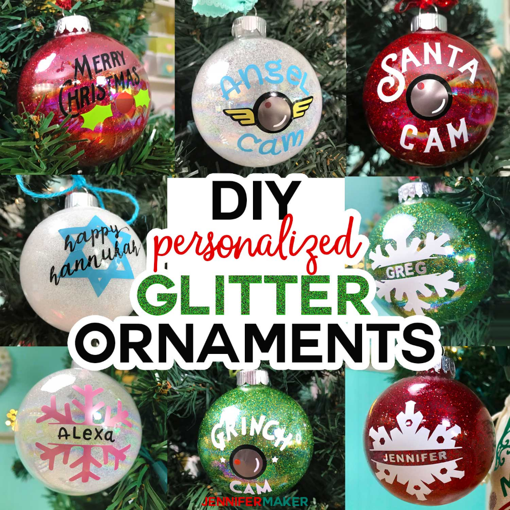 Diy Glitter Ornaments With Layered Vinyl Jennifer Maker Glitter Ornaments Diy Glitter Projects Glitter Diy