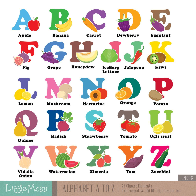 Alfabet A Z Digitale Clipart Groente En Fruit Aphabet Etsy Kids Vegetables Clip Art Alphabet