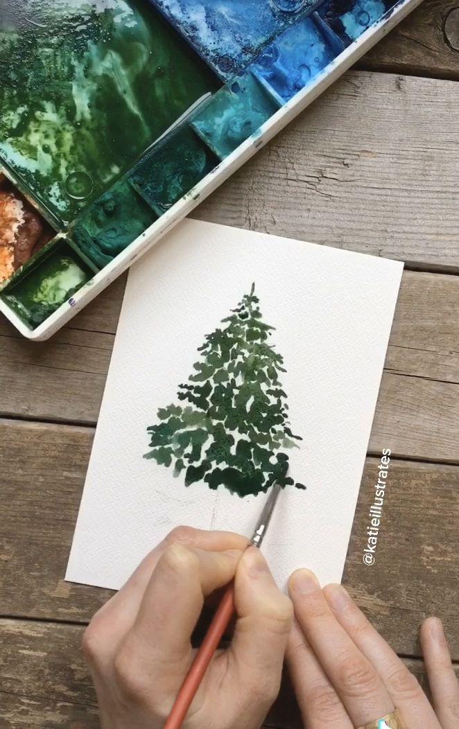 Rustic Watercolor Pine Tree Video