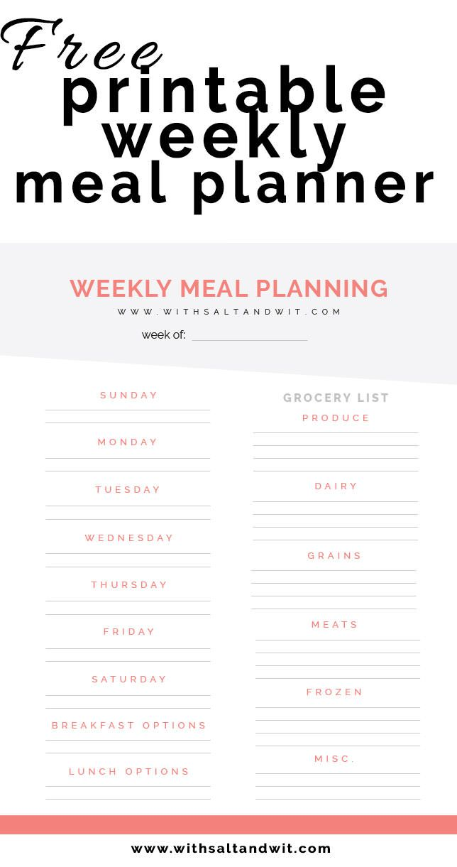 Free Printable Weekly Meal Planner With Grocery List  Planners