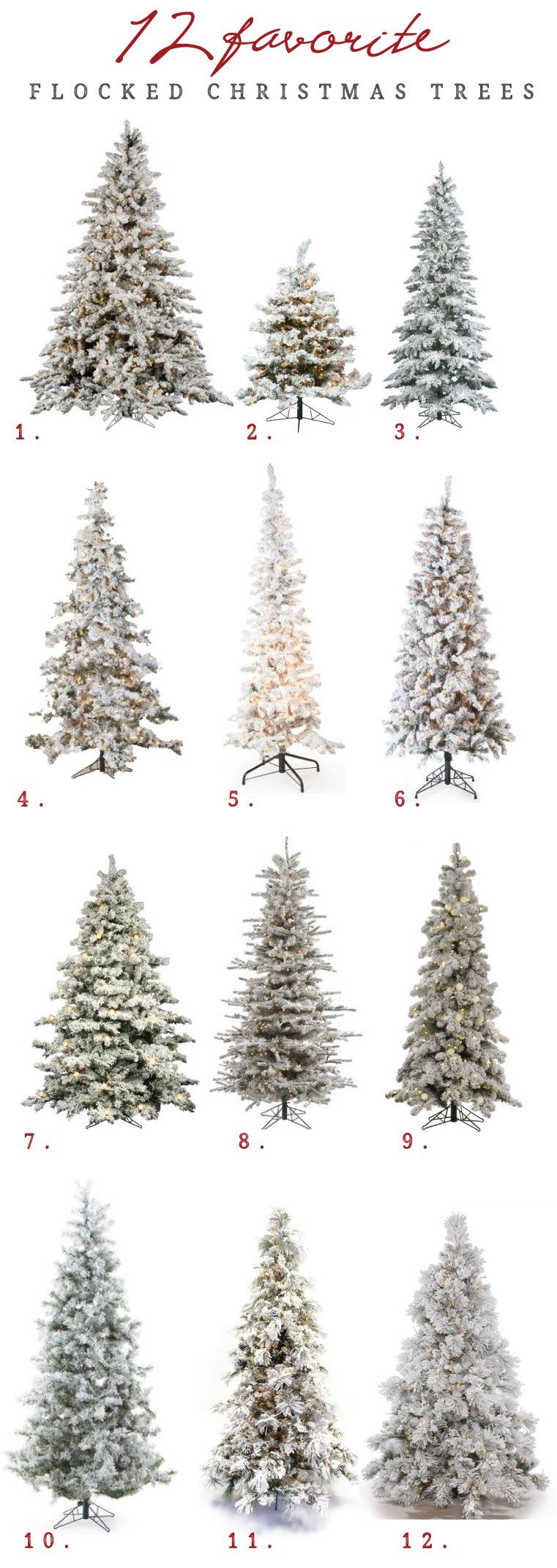12 Of The Best Flocked Christmas Trees In Every Size Flocked Christmas Trees Decorated Cool Christmas Trees Slim Christmas Tree