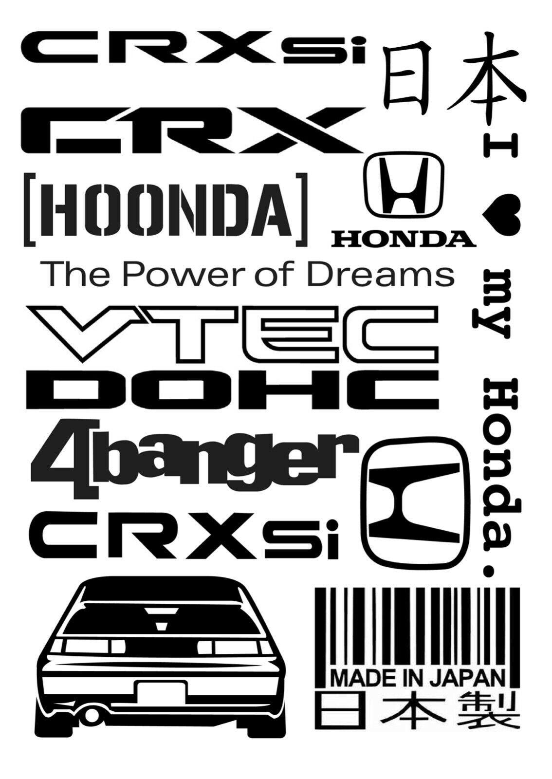 Honda Crx Civic Vinyl Decals Set