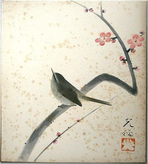 Vintage Japanese Painting Bird Plum Blossoms By Vintagefromjapan