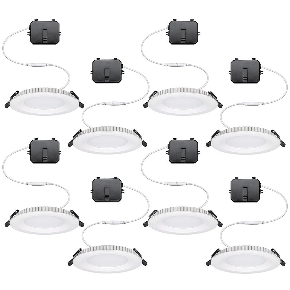 Commercial Electric Ultra Slim 4 In Canless Color Changing Integrated Led Recessed Trim All In One Downlight 650 Lumens Dimmable 8 Pack 53808101 8pk The Ho In 2020 Downlights Commercial Electric Color Change