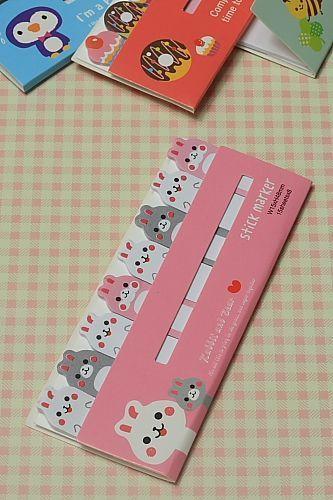 Kawaii Sticky Memo Marker - Rabbit Bear