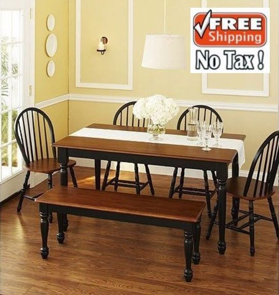 Dining Room Sets 6 Piece Breakfast Nook Kitchen Table Set Bench 4 Chairs Oak