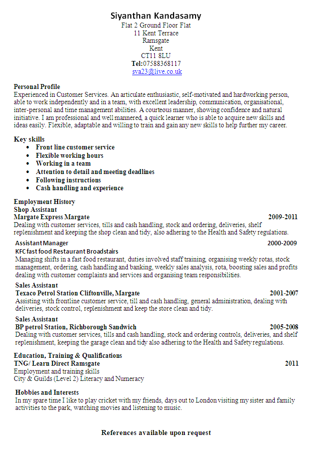 customer service sales cv exles http