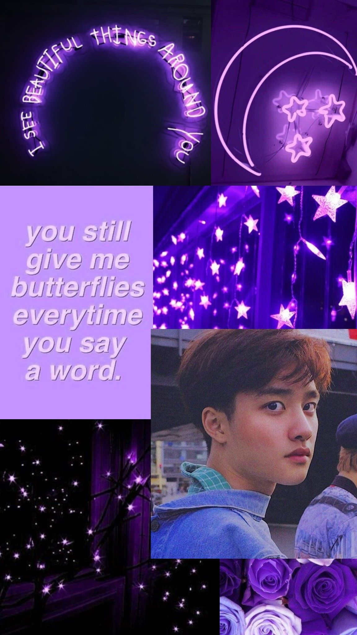 Exo D O Purple Aesthetic Lockscreen Fotografi Ungu